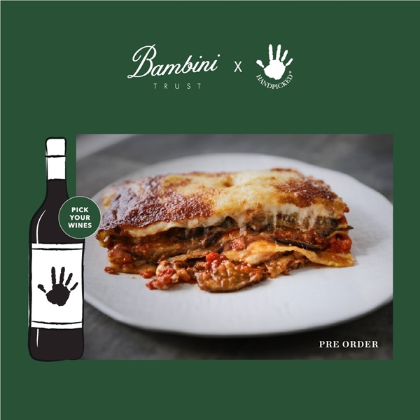 bambini trust sydney eggplant parmigiana with 1 graphic wine bottles on green background with white text