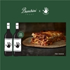 bambini trust sydney lasagna with 2 graphic wine bottles on green background with white text