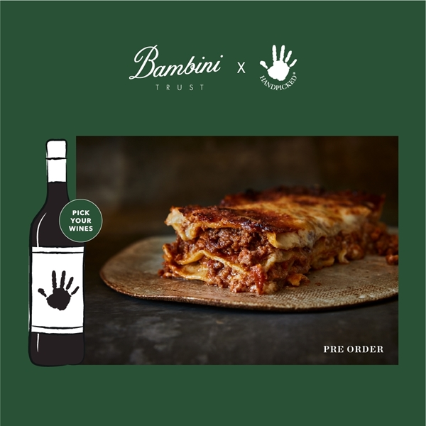 bambini trust sydney lasagna with 1 graphic wine bottles on green background with white text