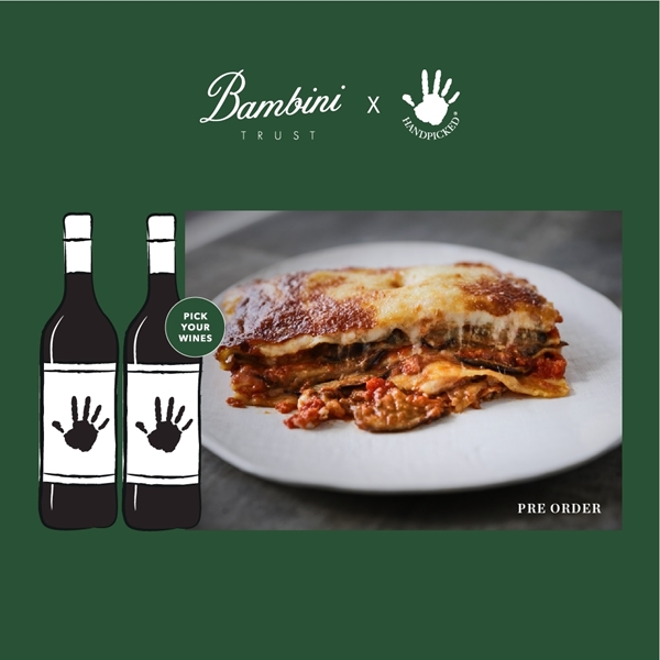 bambini trust sydney eggplant parmigiana with 2 graphic wine bottles on green background with white text