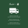 green background with white writing and delivery truck element